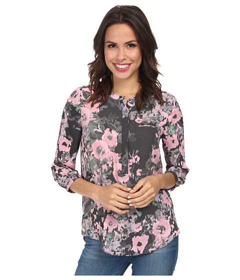NYDJ - 3/4 Sleeve Pleat Back (Floral Painting) Women's Blouse