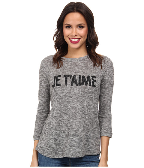 NYDJ - Je T'aime Knit Top (Black) Women's Long Sleeve Pullover