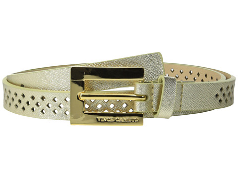 Vince Camuto - 20mm Saffiano Panel w/ Mini Diamond Perf (Gold) Women's Belts