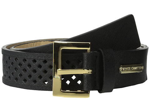 Vince Camuto - 38mm Saffiano Panel w/ Mini Diamond Perf (Black) Women's Belts