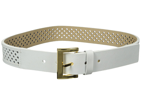 Vince Camuto - 38mm Saffiano Panel w/ Mini Diamond Perf (White) Women's Belts