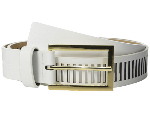 Vince Camuto - 30mm Smooth Panel w/ Perf (White) Women's Belts
