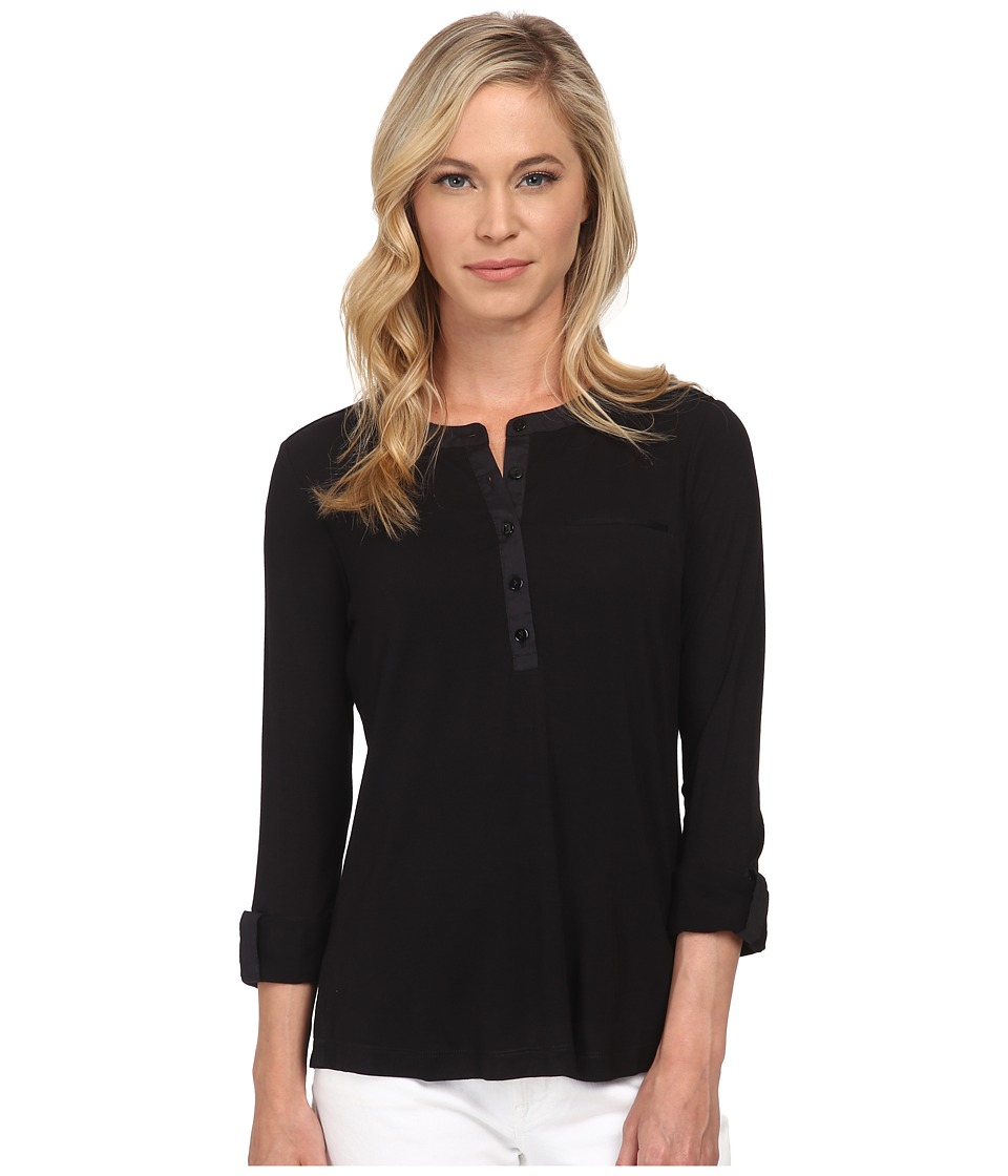 NYDJ Petite - Petite Key Item Pleat Back Knit Henley (Black) Women's Long Sleeve Pullover