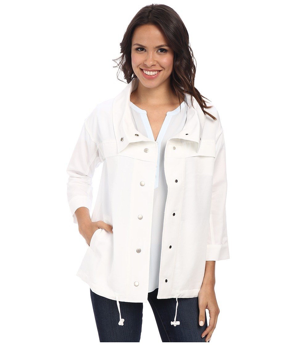 NYDJ - Cropped Trench Coat (Optic White) Women's Coat