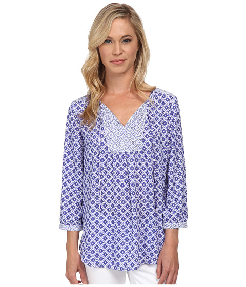 NYDJ Petite - Petite Patch Work Mosaic Blouse (Majesty Blue) Women