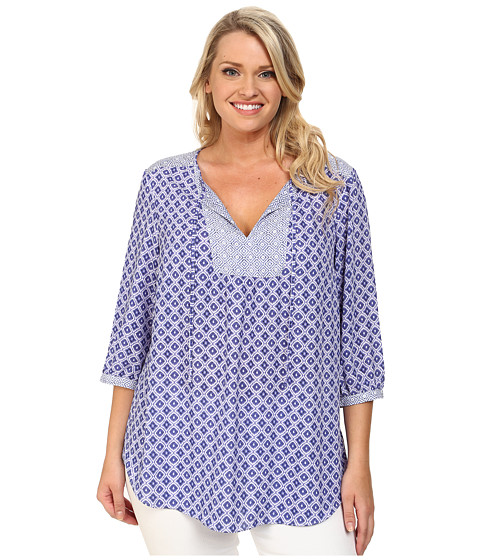 NYDJ Plus Size - Plus Size Patch Work Mosaic Blouse (Majesty Blue) Women