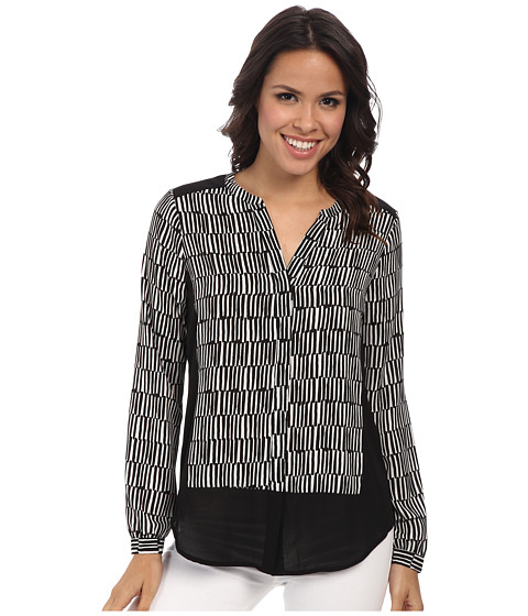 NYDJ - 3/4 Sleeve Ticking Stripe Blouse (Black) Women's Blouse