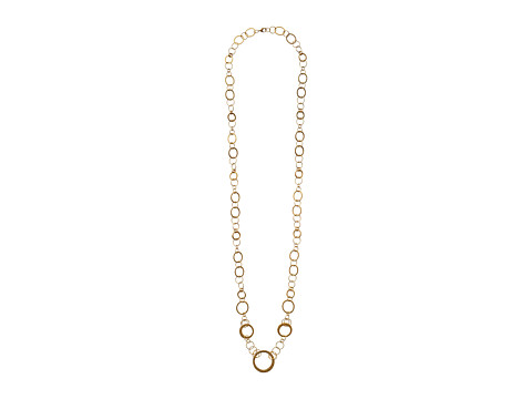 LAUREN by Ralph Lauren - 48 Small and Medium Interlocking Flat Ring Collar Necklace (Worn Gold) Necklace