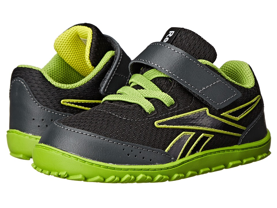 Reebok Kids - VentureFlex Stride II (Infant/Toddler) (Black/Gravel/Stinger Yellow/Ultra Lime/White) Boys Shoes