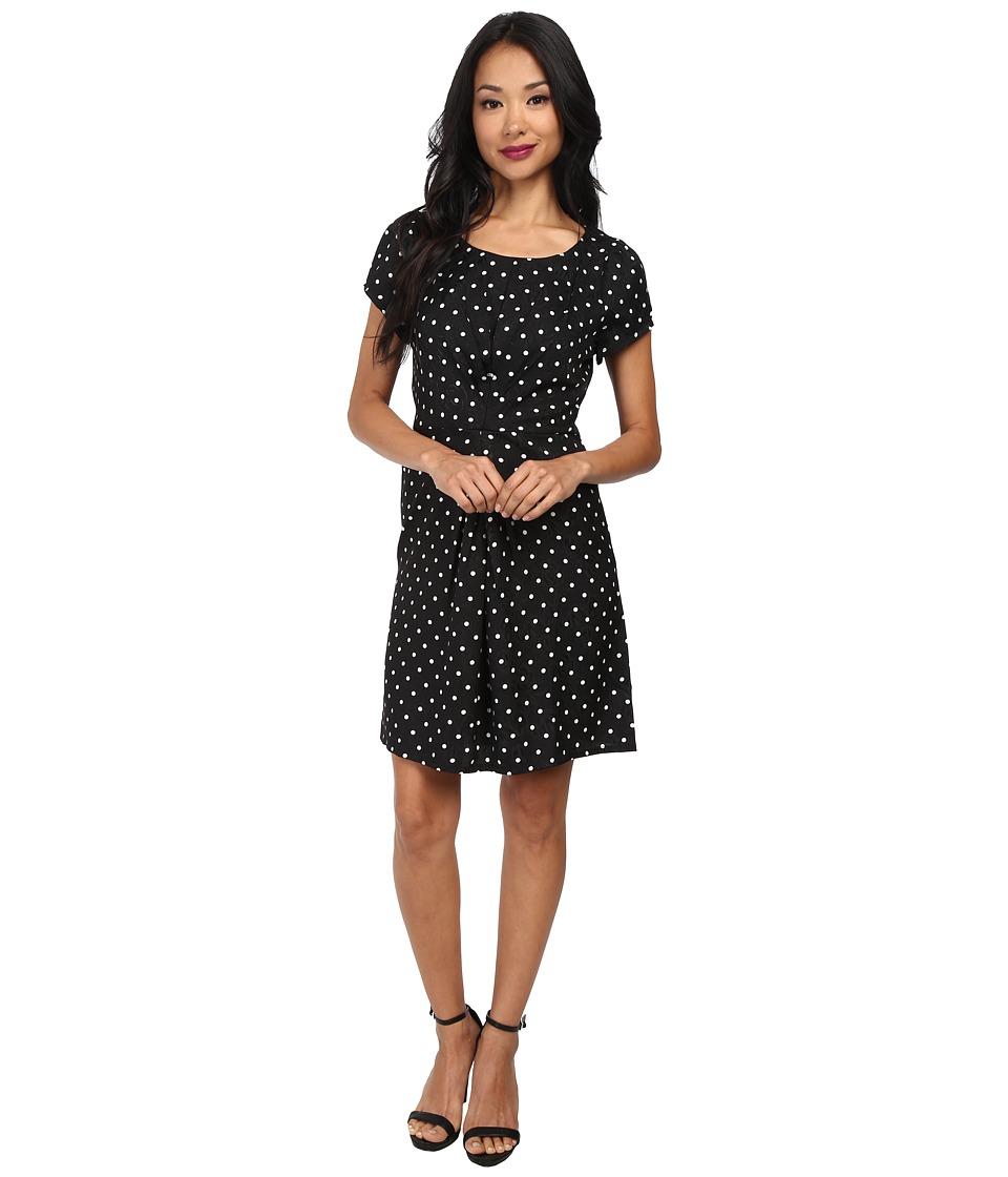 Yumi - Spotty Pleat Dress (Black) Women's Dress