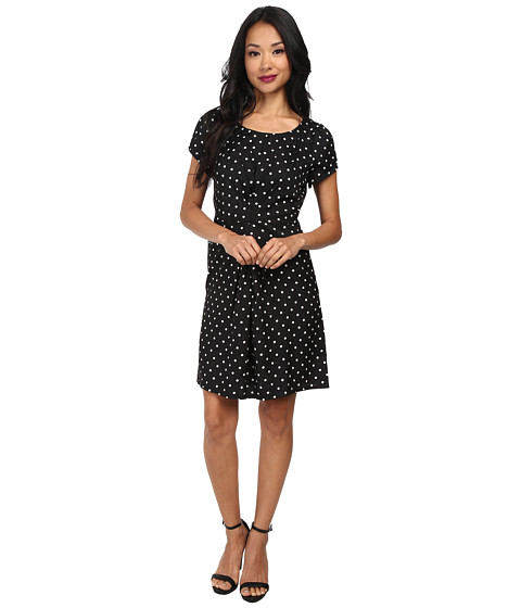 Yumi - Spotty Pleat Dress (Black) Women's Dress