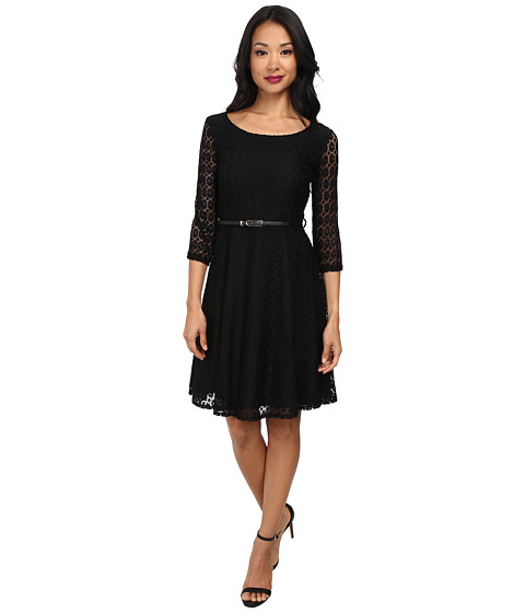 Yumi - Lace Fit Flare Dress (Black) Women's Dress