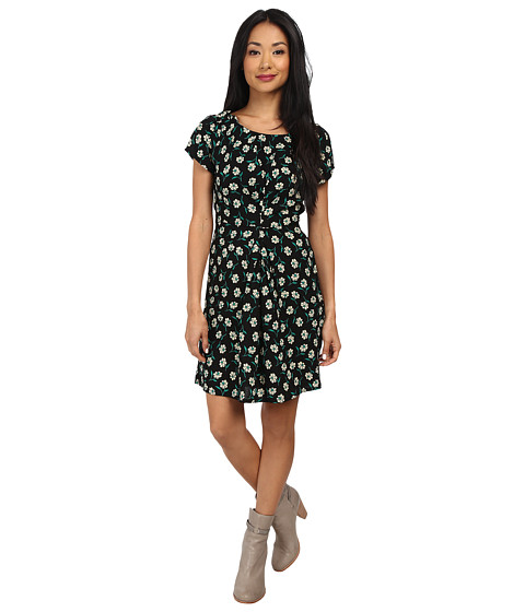 Yumi - Vintage Floral Dress (Black) Women's Dress