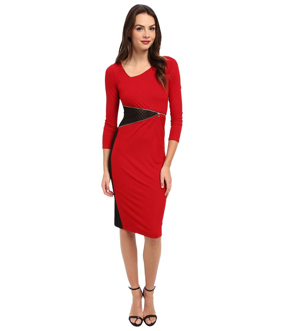 ABS Allen Schwartz - Stretch Crepe L/S T-Length Dress w/ Laser Patch Detail (Red) Women