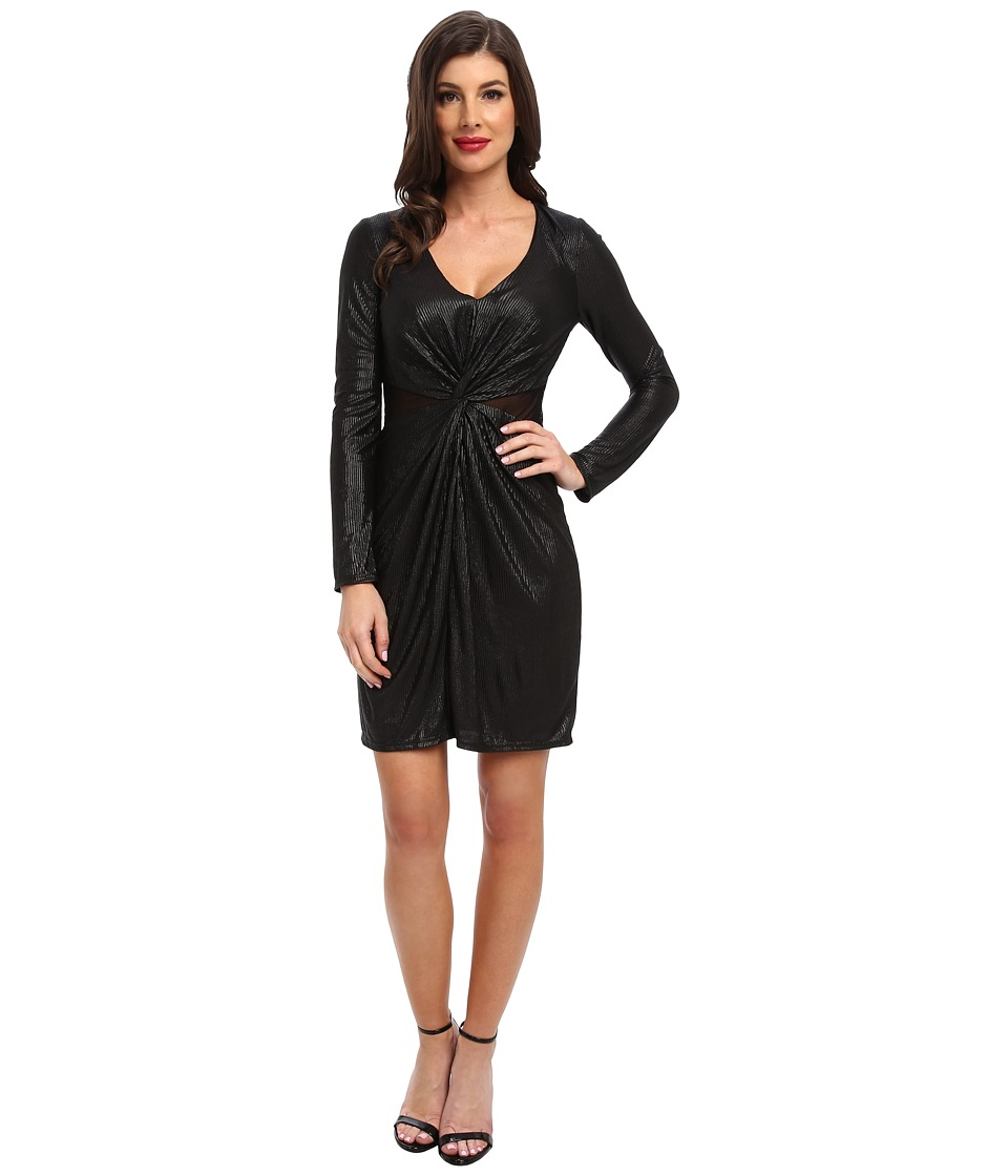 ABS Allen Schwartz - L/S Twist Front Gloss Foil Jersey Wrap Dress (Black) Women