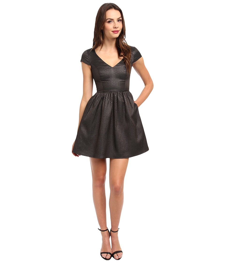 ABS Allen Schwartz - Sharkskin Jacquard S/S Cinch Dress (Black) Women's Dress