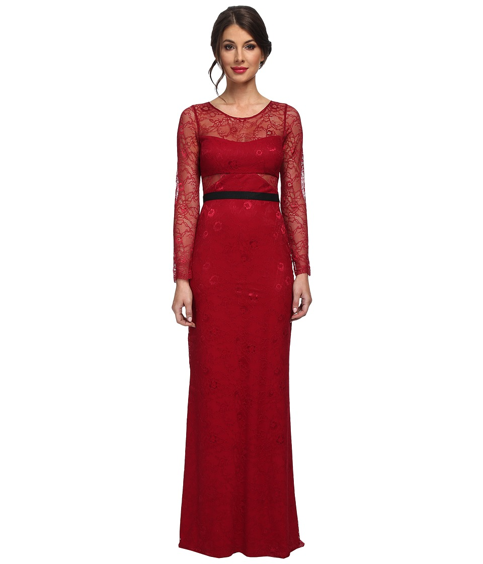 ABS Allen Schwartz - L/S Lace Gown w/ Contrast Waistband (Mulberry) Women's Dress