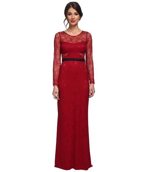 ABS Allen Schwartz - L/S Lace Gown w/ Contrast Waistband (Mulberry) Women