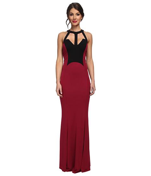 ABS Allen Schwartz - Halter V-Shape Cut Out Gown (Crimson) Women