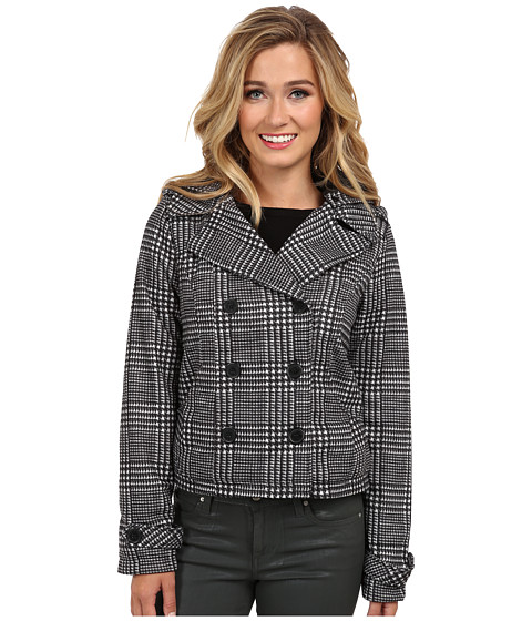 dollhouse - Double Breasted Button-Off Hood Cinched Back Detail (Black/White Dolce Plaid) Women's Coat