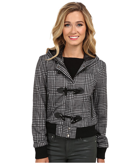 dollhouse - Hooded Zip Front Bomber w/ Knit Trim Toggles (Black/White Dolce Plaid) Women's Coat