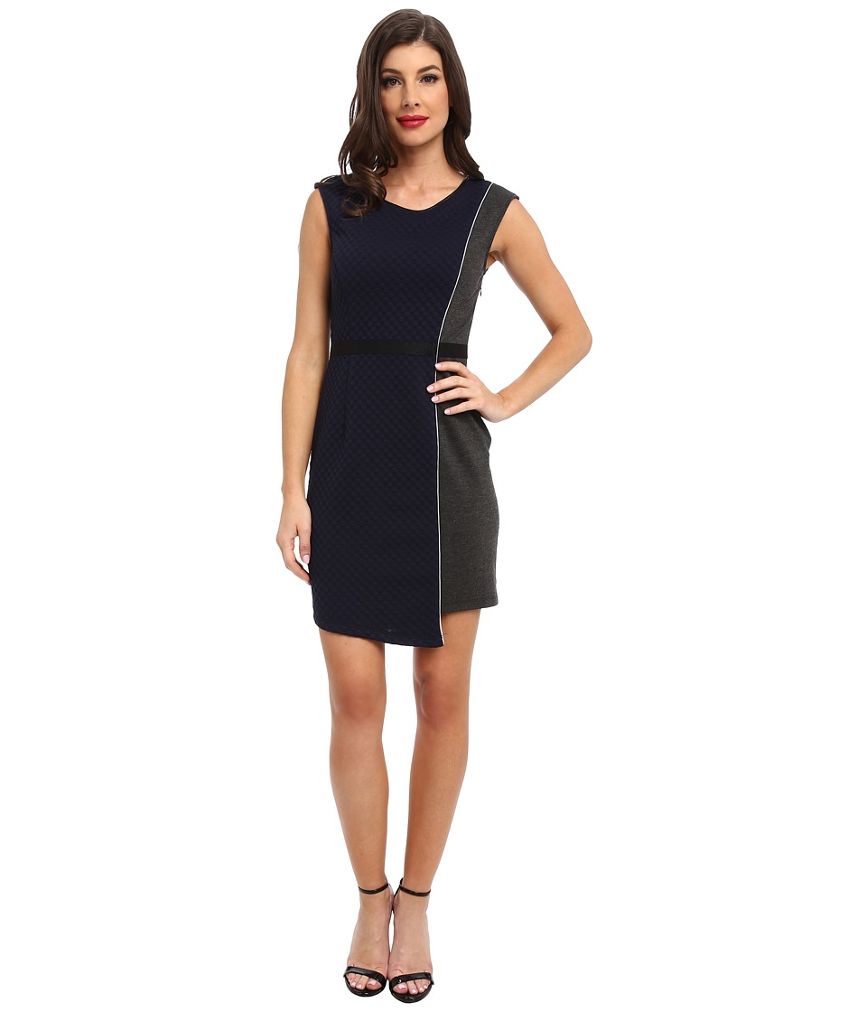 ABS Allen Schwartz - Quilted Ponte Dress w/ Asymmetric Skirt (Navy) Women's Dress