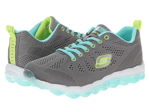 SKECHERS KIDS - Skech Air-Inspire Lights 80222L (Little Kid/Big Kid) (Grey/Aqua) Girl