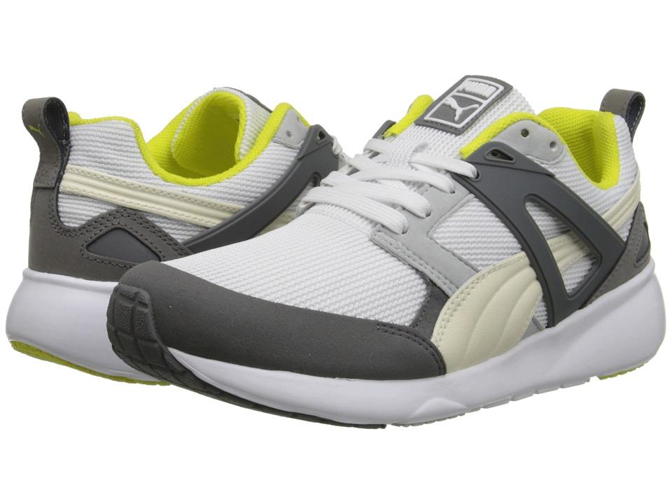 Womens Shoes PUMA Arial Basic Sports White/Fluro Yellow