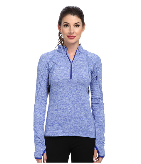 C&C California - Velocity Half Zip Top (Liquid Cobalt Heather) Women's Long Sleeve Pullover