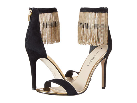Via Spiga - Tolsa (Black/Gold Kid Suede/Multi Chain) High Heels