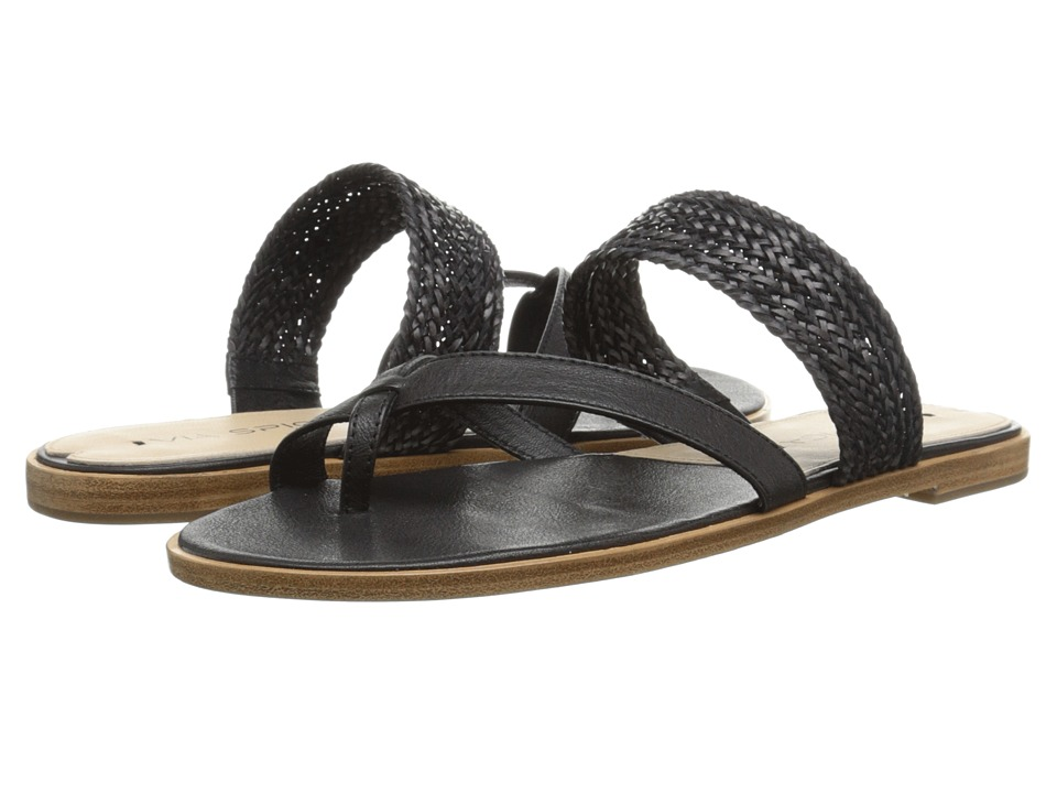 Via Spiga Tamina (Black/Black Safari Calf/Woven Straps) Women