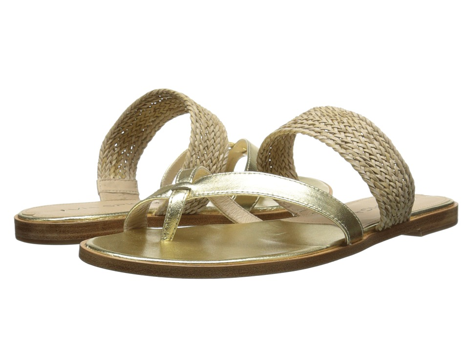 Via Spiga - Tamina (Gold/Natural Metallic Nappa/Woven Strap) Women's Sandals