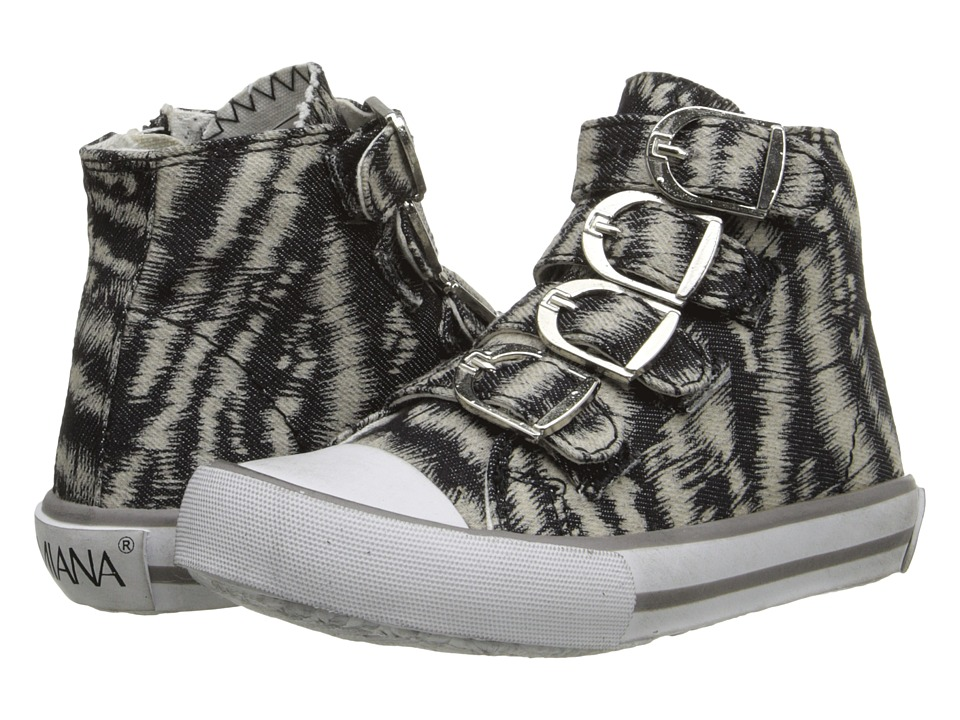 Image of Amiana - 15-A5172 (Toddler/Little Kid/Big Kid/Adult) (Black/White Zebra Denim) Girl's Shoes