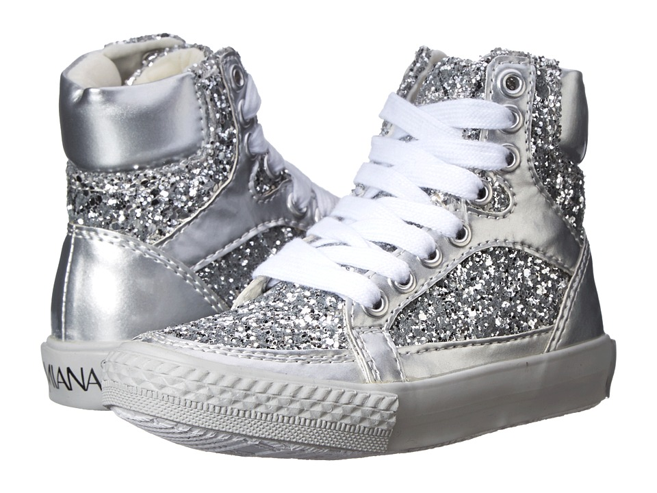 Image of Amiana - 15-A5289 (Toddler/Little Kid/Big Kid/Adult) (Silver Patent/Silver Glitter) Girl's Shoes