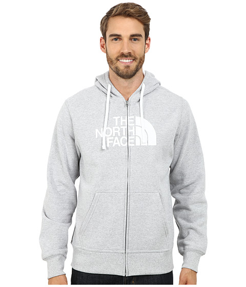 The North Face - Half Dome Full Zip Hoodie (Heather Grey/TNF White) Men