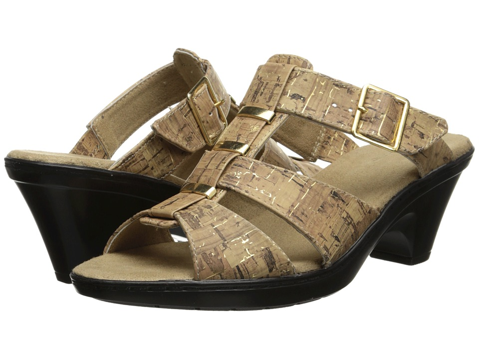 Easy Street - Barcelona (Cork w/ Gold Fleck) Women's Toe Open Shoes