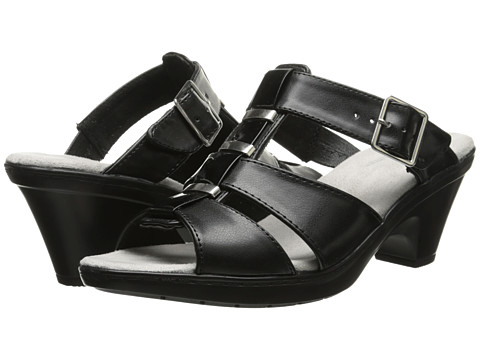 Easy Street - Barcelona (Black/Black Patent) Women's Toe Open Shoes