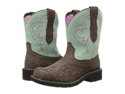 Ariat - Fatbaby Heritage Harmony (Jaguar Print/Mint) Cowboy Boots