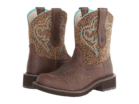 Ariat - Fatbaby Heritage Harmony (Crackled Bay/Mini Leopard) Cowboy Boots
