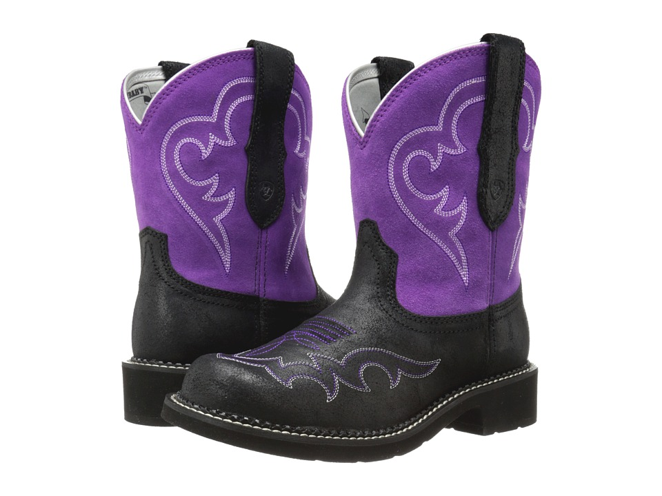 Ariat - Fatbaby Heritage Harmony (Roughed Black/Fuchsia) Cowboy Boots