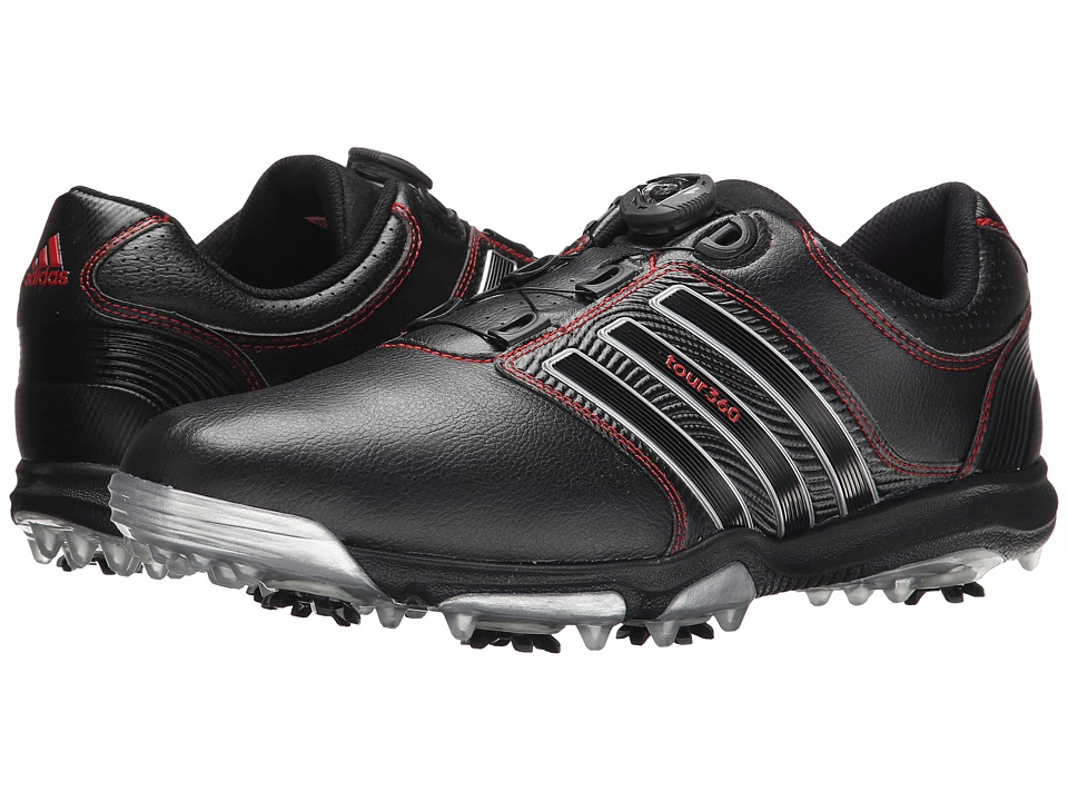 adidas Golf - Tour 360 X Boa (Core Black/Core Black/Red) Men's Golf Shoes