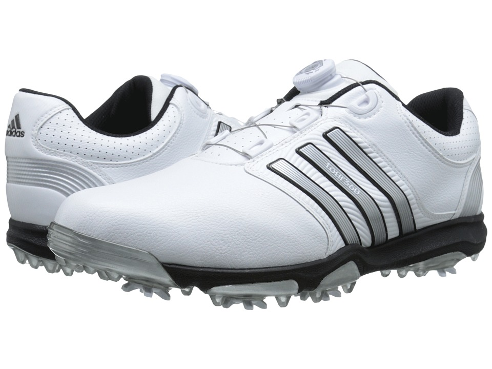 adidas Golf - Tour 360 X Boa (Running White/Silver Metallic/Core Black) Men's Golf Shoes