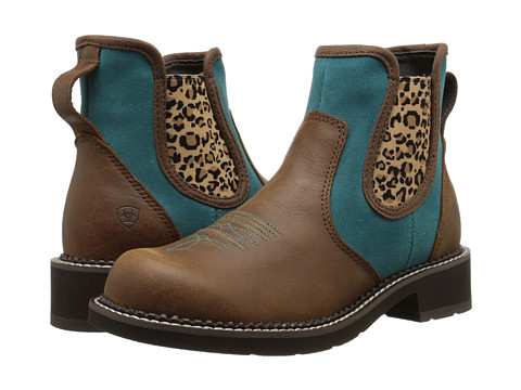 Ariat - Jodbaby (Tanned Copper/Teal) Cowboy Boots