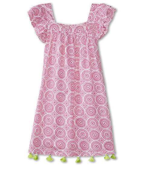 Hatley Kids - Fuchsia Mosaic Flutter Sleeve Dress (Toddler/Little Kids/Big Kids) (Red) Girl