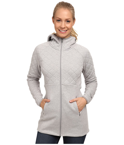 The North Face - Hooded Caroluna Jacket (Heather Grey) Women's Coat