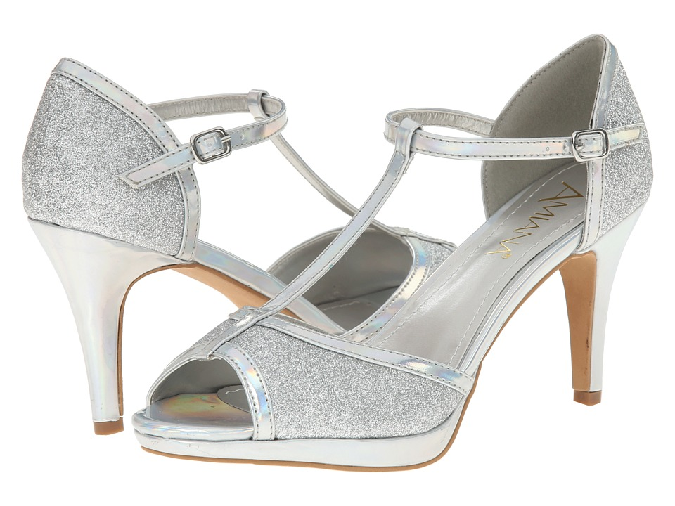 Amiana - 15-A5323 (Big Kid/Adult) (Silver Glitter/Mirror) High Heels
