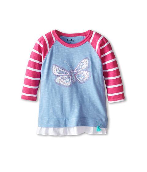 Hatley Kids - Graphic Butterflies Raglan Tee (Toddler/Little Kids/Big Kids) (Light Blue) Girl