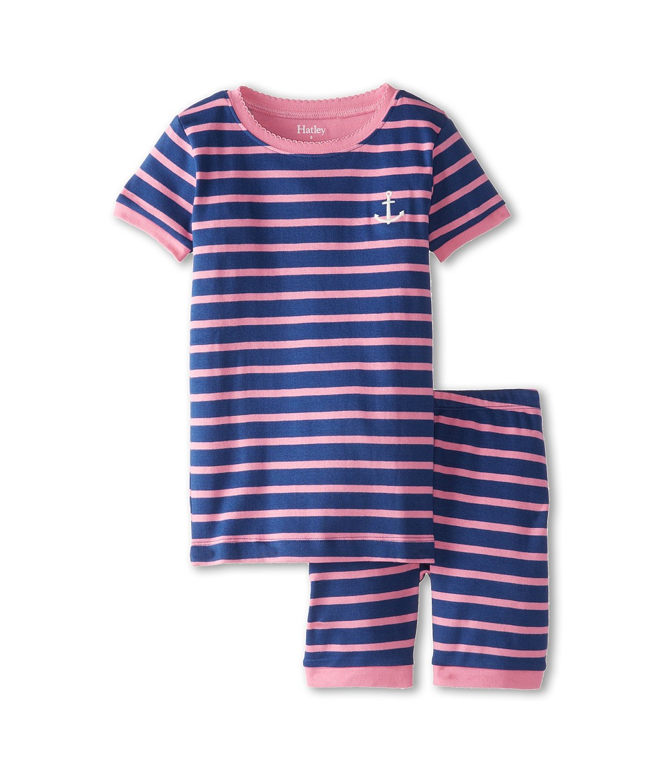 Hatley Kids - Pink Blue Stripes Short PJ Set (Toddler/Little Kids/Big Kids) (Blue) Girl's Pajama Sets