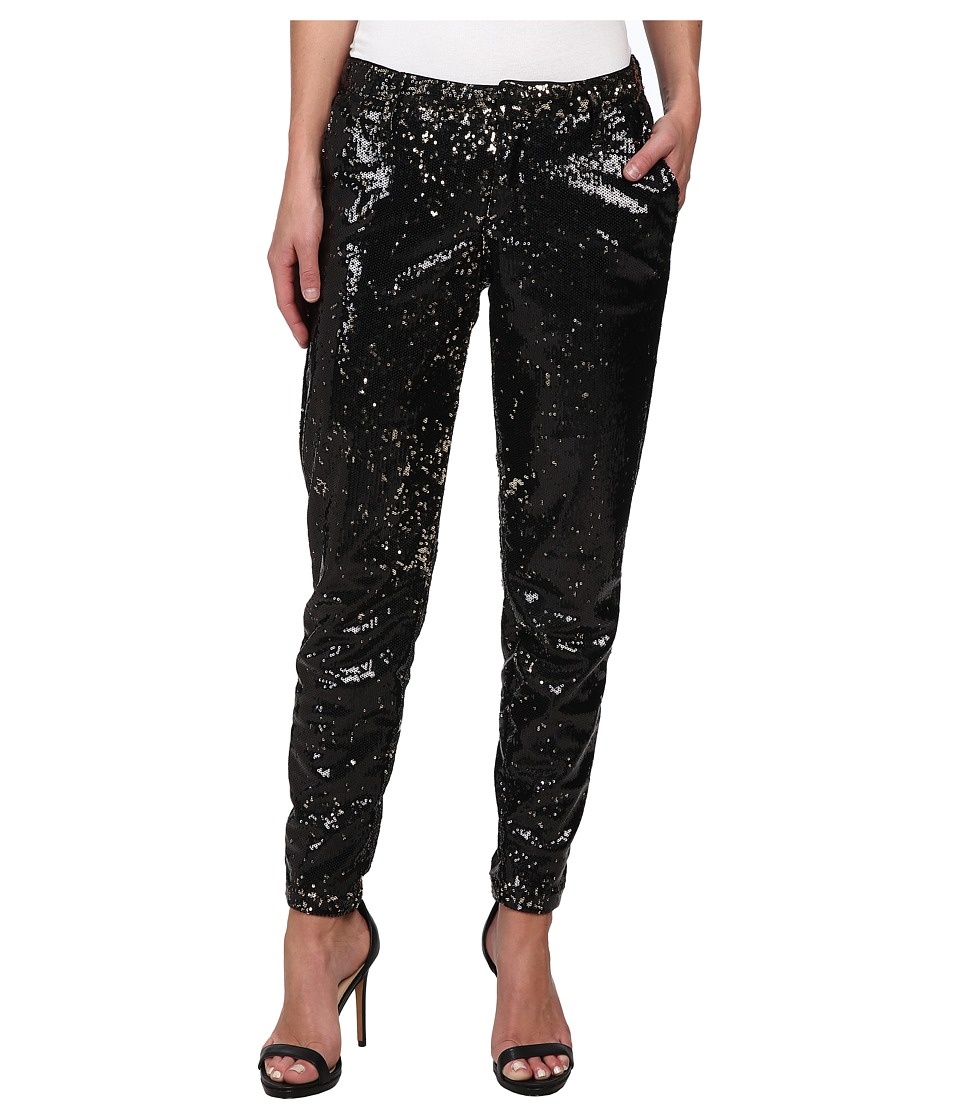 CJ by Cookie Johnson - Prominent Ankle Trouser w/ Sequin Fabric in Black/Bronze (Black/Bronze) Women's Casual Pants plus size,  plus size fashion plus size appare