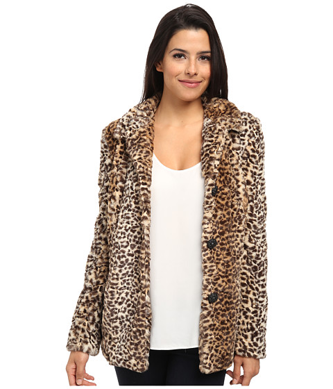 Sam Edelman - Leopard Faux Fur Coat (Multi) Women's Coat